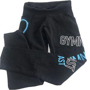 Justice Active Girls Size 8 Med Gymnast Black Leggings Graphic Fitness