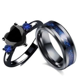 Couple Ring Bridal Set Black Claddagh Ring Heart Stainless Steel Wedding Band