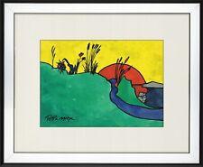 PETER MAX - old sketch Watercolor - HANDMADE !!!
