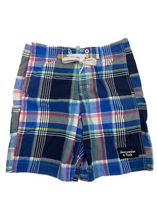 Abercrombie & Fitch Plaid Swim Trunks Size Medium Blue