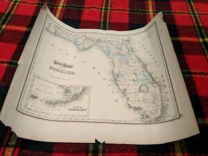 Antique Gray's Atlas Colored MAP (1873?) Florida & Alabama