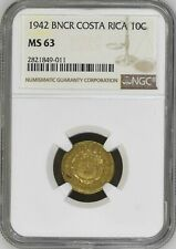 Costa Rica: 10 Centimos 1942 BNCR, NGC MS 63, KM# 180 Brass