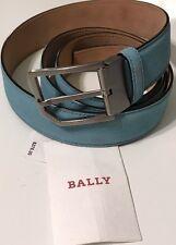 NWT BALLY Men's CAMERON 35 MALIBLUE LIGHT BLUE SUEDE DRESS BELT Size 110, US 44