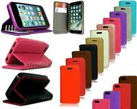 For Apple iPhone SE New Genuine Black Leather Flip Stand Wallet Phone Case Cover