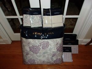 Ralph Lauren Alessandra Ardsley Cream Multi Full Queen Comforter Set 9pc
