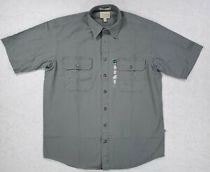 Cabela's Men's Size LT Large Tall Roughneck Canvas Short Sleeve Shirt Sage Green