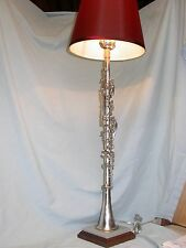 CLARINET LAMP  CAVALIER METAL ON GREY-BLUE CORIAN & WALNUT BASE - RUSTIC!
