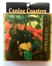 Black Doberman Coasters Set of 4 Rubber 1995