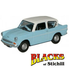 Oxford Diecast 1:76 Scale Ford Anglia Light Blue & Ermine White Model OO Gauge