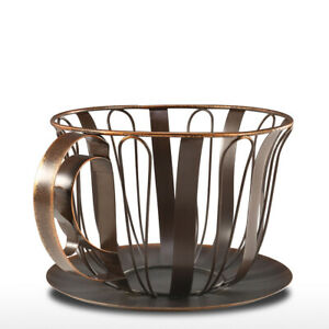 Brown Coffee Pod Container Espresso Pod Holder Coffee Mug Storage Basket Q0F2