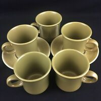 VTG Set of 5 Cups and 2 Saucers by Franciscan Pebble Beach Green Floral USA