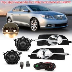 For 2010-2013 Buick LaCrosse Front Fog Light Lamp+Cover Trim +Harness Switch Kit