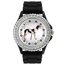 French Spaniel Dog Crystal Rhinestone Mens Ladies Jelly Silicone Watch SG318P