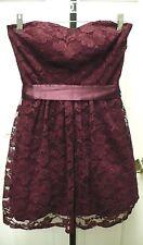 dELiA*s Teen Size 7/8 Wine Shine Lace Strapless Lined Dress w/Ribbon Tie Belt