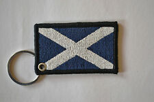 SCOTLAND FLAG EMBROIDERY KEYRING EMBROIDERED PATCH BADGE KEY CHAIN CHROME RINGS
