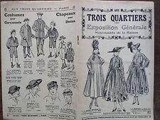 """CATALOGUE MODE """" AUX TROIS QUARTIERS """" EXPOSITION GENERALE NOUVEAUTES ETE 1916"""