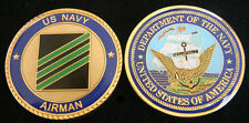 AIRMAN E-3 RANK CHALLENGE COIN USS NAS US NAVY PIN UP CARRIER NAF CVA AIR CREW