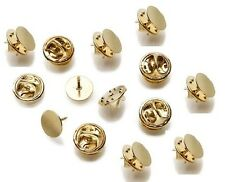 GOLD TIE TACK LAPEL PIN 10mm FLAT PAD with CLUTCH 50 sets