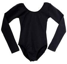 Women's Black Leotard Cotton Dance Long Sleeve Adult NEW Black