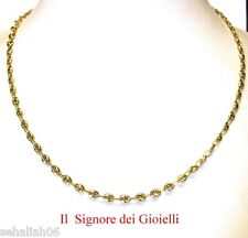 CHAIN NECKLACE YELLOW GOLD 18Kt  SAILOR'S OVAL NAVY STYLE -   MADE IN ITALY
