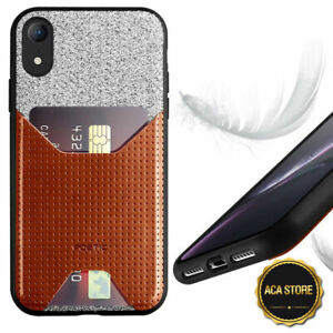 Leather Phone Case For Apple iPhone XR with Credit Card Slot Cover Brown