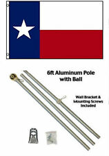 3x5 Texas Flag 6ft Aluminum Flag Pole Kit Gold Ball Top 3'x5' House Residential