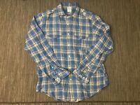Brooks Brothers Adult Mens Large Linen Button Up Shirt Blue Plaid