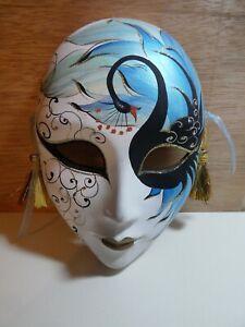 "Vintage Mardi Gras Bisque Porcelain Hand Painted Mask 8"" - Venice - Black Swan"