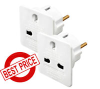 2 x UK to EU Adapter Euro European Europe Approved Travel Adapter Plug Holiday