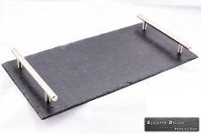 Schiefer Servierplatte Platzset Buffetplatte Tischset 20x40cm Edelstahlgriffe