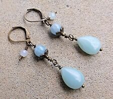 Natural Amazonite, Aquamarine  & Bronze Leverback Earrings  Sundance Artisan