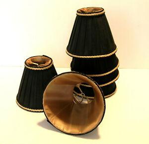 Chandelier Shades Set of Six Black with Gold Braid Trim