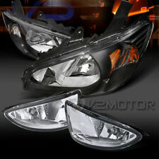 For Honda 04-05 Civic 2/4DR Black Headlights+Clear Bumper Fog Lamps