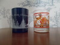 Vtg 2 Glass Collectible Christmas Hallmark Votive Candle Holders