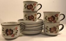 5 Coffee Tea Cups & Saucers Denby-Langley Serenade Stoneware Hand Painted 19626