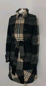 Karen Millen wool Check Coat Uk 6 Us 2 Eu 34