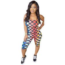 7181194b47e Women Off Shoulder Checks Plaid Bodysuits Mid Bodycon Clubwear Party Catsuit