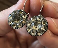 Large Antique Sterling Silver Georgian Victorian Paste Stone Cluster Earrings