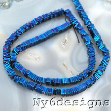 "Ny6design 4x4x1mm Blue Pyrite Square Disc Beads 15"" (OT256)a"