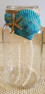 Mason Jar Vase Wedding Centerpiece Seashells Starfish Centerpiece  Beach Wedding