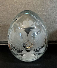 Collectible Genuine Russian Clear Glass Double Headed Eagle Egg Magnifying Glass