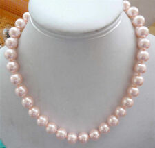 """10mm round natural pink South Sea pearl shell necklace 18"""" JN937"""
