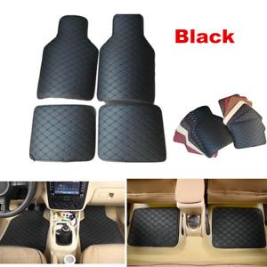Set Of 4 Black Leather Car Floor Mats Waterproof Mat For interior Accessories