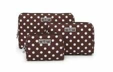 NEW Henri Bendel Brown and White Polka Dot 3 Piece Cosmetics Set Travel Bags