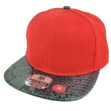 Red Blank Plain Solid Panel Faux Black Snake Skin Flat Visor Snapback Hat Cap