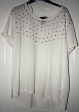 LADIES H&M LINEN BLEND TOP SHORT SLEEVE WHITE SIZE L USED