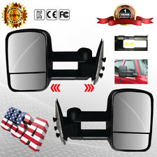 Towing Mirror Manual Textured Black Pair Set Fits Chevy GMC Pickup Truck SUV