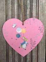Peter Rabbit Wooden Hanging Heart Nursery Decor Christmas Decoration Handmade