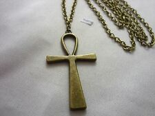 Grand Bronze Style Ankh Egyptien Croix Charm, Long ( 76.2cm ) Collier Chaîne
