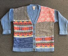 Sundance Catalog Purely Patchwork Cardigan Sweater Womens Size M Blue Sweater